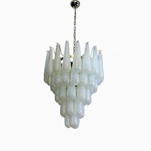 Large Murano Chandelier with 52 Opal Glass Drops from Mazzega, 1980s