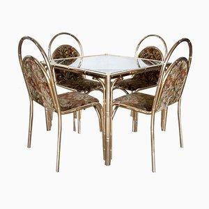 Set da pranzo in metallo a forma di bambù, anni '70