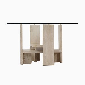 Travertine Coffee Table by Willy Ballez, 1970s