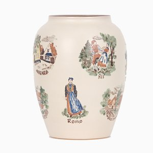Vintage Ceramic Vase with Danish Motifs by Emil Ruge