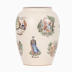 Vintage Keramikvase mit dänischen Motiven von Emil Teppiche