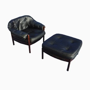 Leather Armchair & Ottoman by Arne Norell for Coja, 1968
