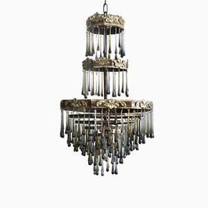 Vintage Smoked Glass Waterfall Chandelier