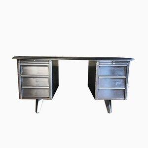 Vintage Tanker Schreibtisch aus rohem Metall