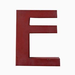 Letra E industrial vintage de metal