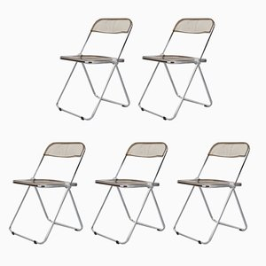 Plia Folding Chairs by Giancarlo Piretti for Castelli, 1960s, Set of 5