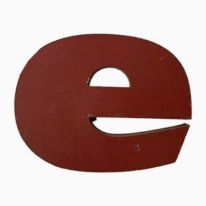 Vintage Industrial Metal Letter E