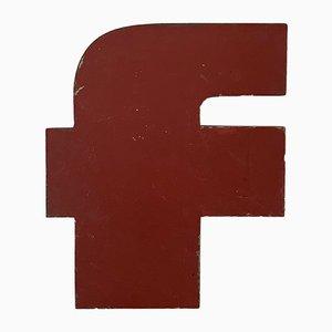 Lettera F vintage industriale in metallo