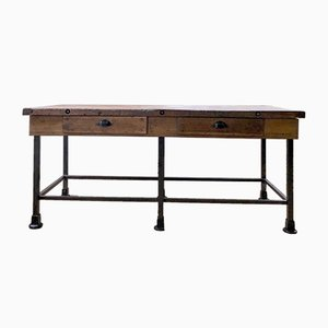 Vintage Industrial Workbench in Wood and Metal