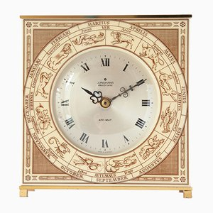 Ato-Mat Zodiac Brass Table Clock from Junghans, 1960s