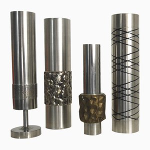 West German Stainless Steel Brutalist Sculptures, 1960s, Set of 4