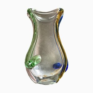 Small Vintage Czech Flower Vase from Mstisov Glassworks