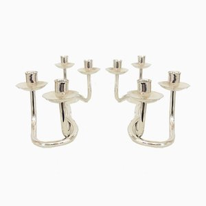 Silver-Plated Candleholders, 1960s, Set of 2