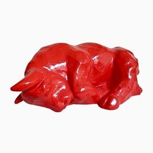 Escultura de toro durmiente de fibra de vidrio de Dino Milani, 1998