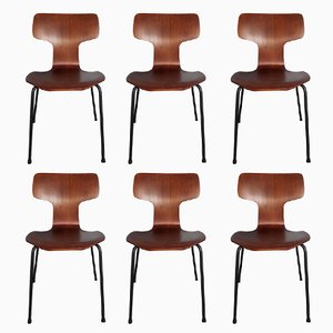Model 3103 Hammer Teak Chairs by Arne Jacobsen for Fritz Hansen, 1967, Set of 6