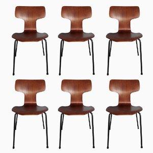 Modell 3103 Hammer Chairs aus Teak von Arne Jacobsen für Fritz Hansen, 1967, 6er Set