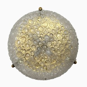 Vintage Brass & Bubble Glass Ceiling Light from Hillebrand Lighting, 1960s