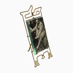 Cadre à Photo Art Nouveau en Laiton avec Verre d'Origine