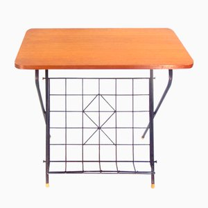 Swedish Side Table with Magazine Rack, 1960s