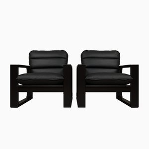 Wood & Black Leather Lounge Chairs by Miroslav Navratil, 1982, Set of 2