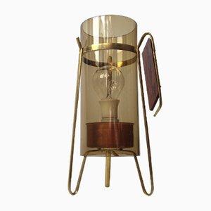 Lampe de Bureau en Laiton, Cuivre, Palissandre et Verre Fumé, 1960s