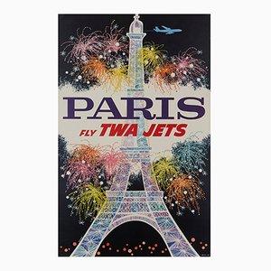 Paris Fly Twa Jets Plakat von David Klein, 1962