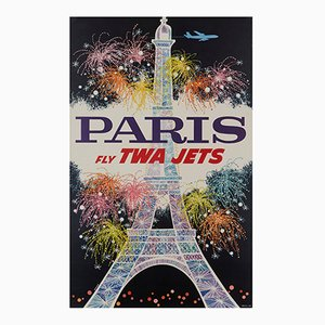 Paris Fly Twa Jets Poster by David Klein, 1962
