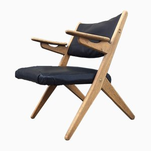Danish Oak & Leather Lounge Chair by Arne Hovmand Olsen, 1960s