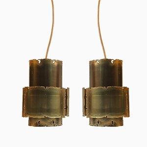 Lámparas colgantes de latón de Svend Aage Holm-Sørensen para Holm-Sørensen, años 60. Juego de 2