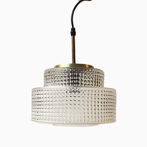 Danish Modern Glass & Brass Pendant by Vitrika, 1960s