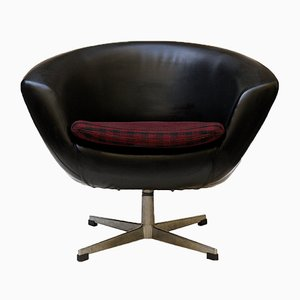 Red & Black Leatherette Egg Chair from UP Závody, 1960s
