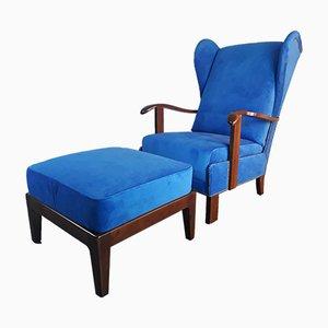 Dänischer Sessel mit Fußhocker von Fritz Hansen, 1940er