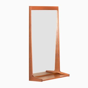 Danish Teak Mirror with Shelf by Kai Kristiansen for Aksel Kjersgaard, 1960s