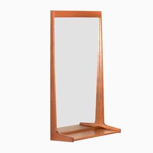 Danish Teak Mirror with Shelf by Kai Kristiansen for Aksel Kjersgaard, 1960s