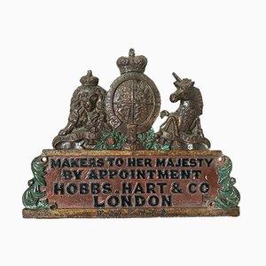 Antike königliche Wappen Plakette von Hobbs Hart & Co London