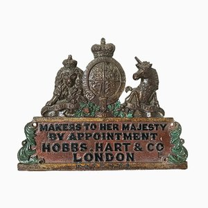 Antique Royal Warrant Coat Of Arms Plaque from Hobbs Hart & Co London