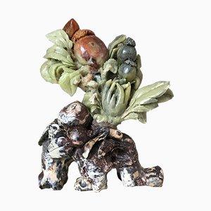 Chinesische Vintage Statue aus geschnitztem Jade Hartstein