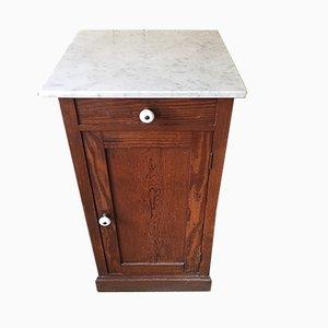 Comodino antico con ripiano in marmo