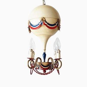 Lampe à Suspension en Forme de Montgolfière Mid-Century en Acier Tricolore, 1950s