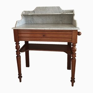 Table Console Antique avec Plateau en Marbre
