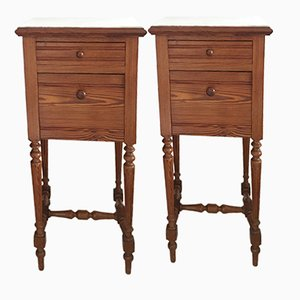 Antique Oak & Marble Nightstands, Set of 2