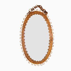 French Rattan Oval Mirror, 1950s