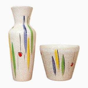 Vase & Blumentopf von Bodo Mans für Bay Keramik, 1960er