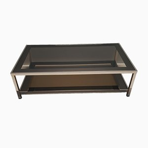 Gold-Plated Coffee Table with Smoked Glass Shelves by Belgo Chrom, 1980s