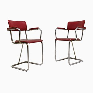 Armchairs in Tubular Chrome Steel and Imitation Leather, 1930s, Set of 2