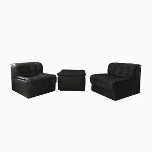 Modulares Vintage DS11 2-Sitzer Sofa mit Fußhocker aus schwarzem Leder von de Sede