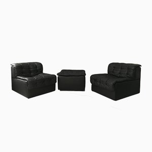 Vintage DS11 Modular 2-Seater Sofa with Ottoman in Black Leather from de Sede