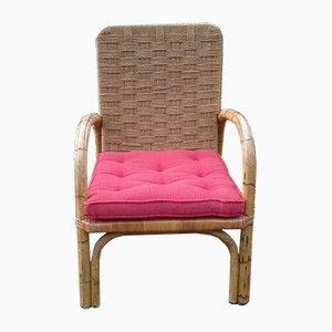 Chaise en Corde Tressée et Bambou, 1950s