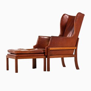 Wingback Lounge Chair with Stool by Mogens Koch for Rud Rasmussen, 1936