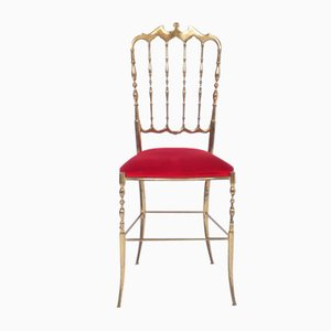 Vintage Red Velvet Chair from Chiavari, 1950s